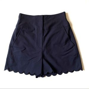 NWT Rebecca Taylor Scalloped High Waist Shorts Sz0